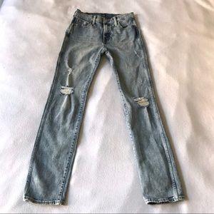 Gap Denim Slim Straight High Rise Distressed Jeans